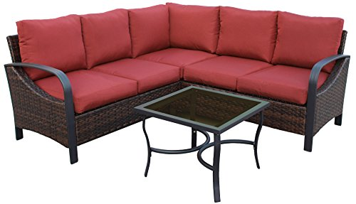 Leisure Made 4 Piece Trenton Wicker Sectional, Red Fabric