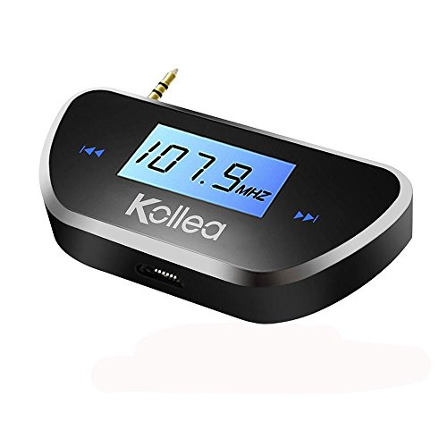 Kollea Wireless In-car FM Transmitter Radio Adapter for All Smartphones Audio Players W 3.5mm Audio Jack