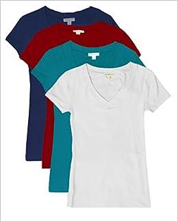 TL 2 o 3 o 4 camisetas básicas de algodón de manga corta con cuello en V para mujer SET4-NAV_BURG_JADE_WHT S: Amazon.es: Libros