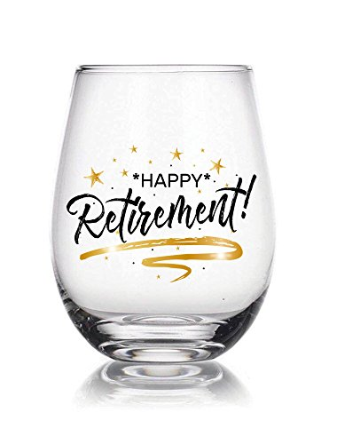 Happy Retirement 22 oz Stemless Wine Glass, for retirement gift, anniversary gift, for retired family members, friends, colleagues, associates and bosses