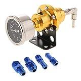 Baosity Fuel Pressure Regulator with Oil Gauge + Fitttings Kit for Turbo Car - Gold