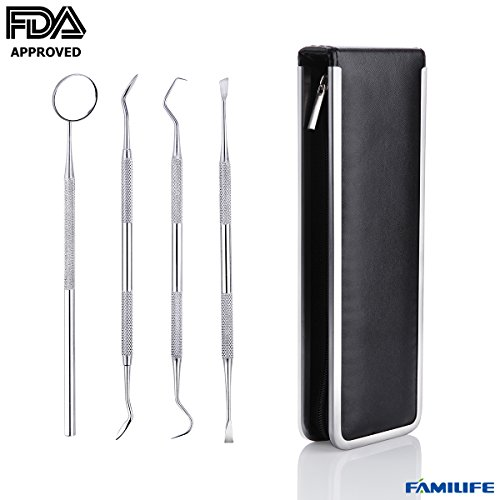 Price comparison product image FAMILIFE FDA APPROVED 4 Pcs Professional Stainless Steel Dental Tools Kit for Personal Use