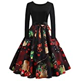 WOCACHI Final Clear Out Christmas Vintage Dresses Womens Long Sleeves Party Swing Dress Bowknot Sashes A Line Bodycon Vintage Xmas Evening Prom Costume Maxi Mini Knee Length (Black_i, Large)