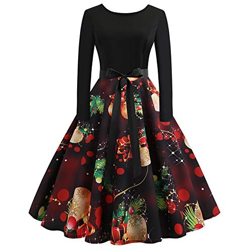 TOTOD Christmas Vintage Dress, Women Elegant Long Sleeve Print Dresses - O Neck Xmas Evening Party Swing Dress (Fashion Christmas)