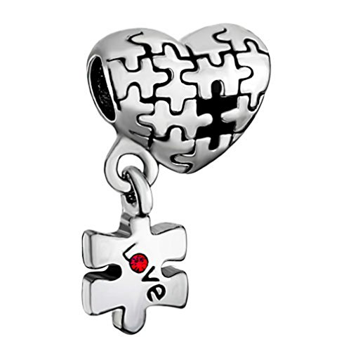 New Puzzle Autism Heart Love Charms Red Birthstone Crystal Sale Cheap Beads Fit European (Sale European Bead)