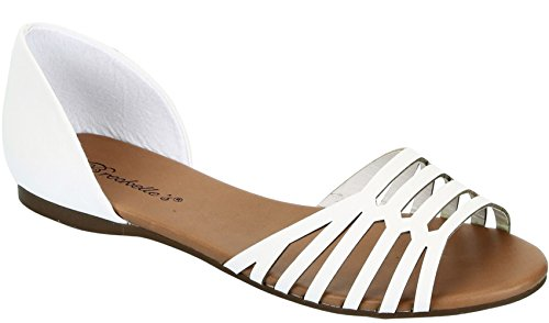 Breckelles Womens DOrsay Slip On Flat Sandals White 2TlsN4p4Ye