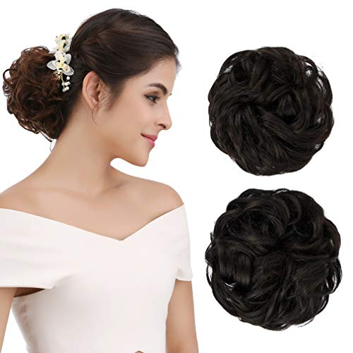 REECHO Women's Thick 2PCS Curly Wavy Updo Hair Bun Extensions Messy Hairpieces - Black Brown (Natural Hair Updo Styles For Short Hair)