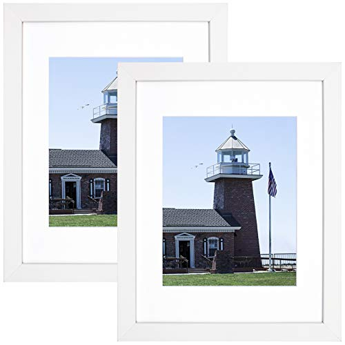 Golden State Art Set of 2, 11x14 Photo Wood Frame with Mat for 8x10 Picture (White, 2-Pack)