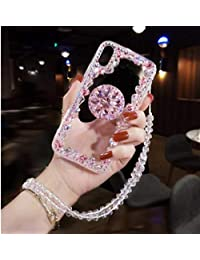 Amocase Diamond Clear Case with 2 in 1 Stylus for Samsung Galaxy A80/A90,Luxury Girly 3D Handmade Gemstone Soft Rubber Bumper Ring Stand Holder Bling Case with Crystal Neck Lanyard - Pink