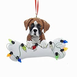 Boxer Puppy with Large Bone and Christmas Lights Ornament...