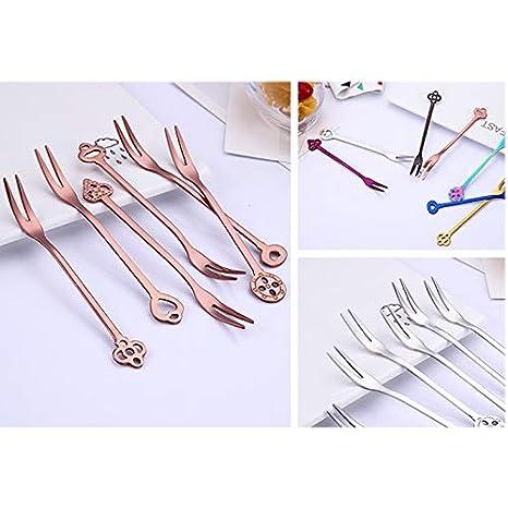 JUNGEN Stainless Steel Fruit Forks Dinner Forks Party Cake Salad Forks Picks Creative Designed Dessert Cake Forks for Table Decoration Pack of 6 Purple