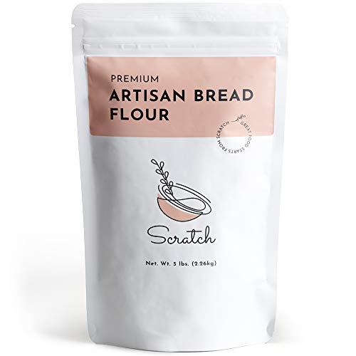 Scratch Premium Artisan Bread Flour - Unbleached Bread Flour for Premium Artisan Recipes and Bread Machines (5 LB)