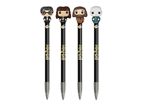 Funko POP Harry Potter Movie: Harry Potter, Hermione Granger, Lord Voldemort, and Rubeus Hagrid Pen Toppers - 4 Pack Set