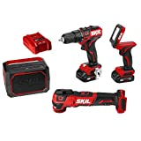 "SKIL 4-Tool Combo Kit: Pwrcore 12 Brushless 12V 1/2"" Drill Driver, Oscillating Multitool, Area Light & Bluetooth Speaker, Includes Two 2.0Ah Lithium Batteries & Standard Charger - CB738901"
