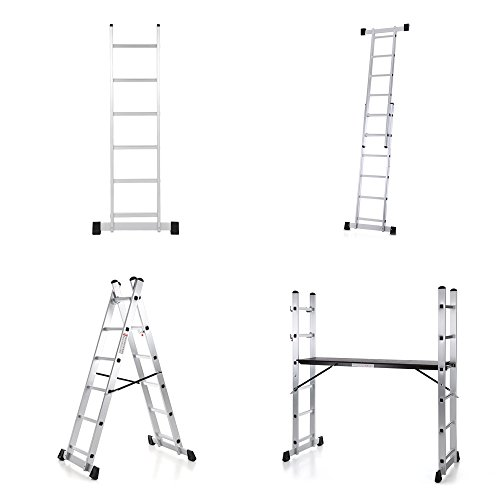IKAYAA 4-in-1 DIY Multi Purpose Scaffolding Ladder Aluminum Extendable Step Stool Work Platform Tower, 330 lb.