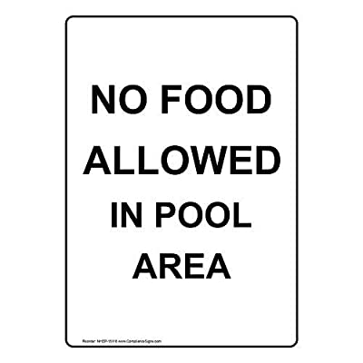 Vertical No Food Allowed in Pool Area Sign English Text White Metal Sign Warning Saftey Sign Pre-drilled Holes for Easy Mounting