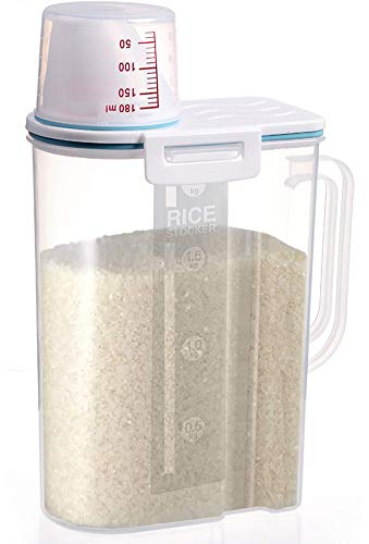 Rice Container Airtight BPA Free 5lb Capacity Cereal Storage Container with Measuring Cup for Kitchen Storage Organization(Blue)