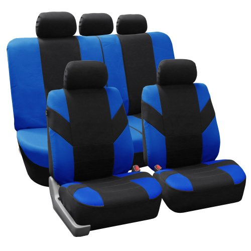 FH Group FH-FB072115 Road Master Fabric Auto Seat Covers Full Set Airbag & Split Ready Blue/Black Color