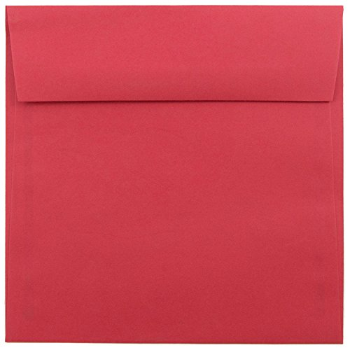 JAM PAPER 6.5 x 6.5 Square Colored Invitation Envelopes - Red Recycled - 50/Pack (Square Chinese Red Envelopes)
