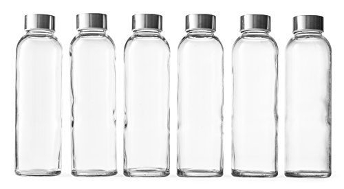 Hand Pressed Glass - Epica 18-Oz. Glass Beverage Bottles, Set of 6