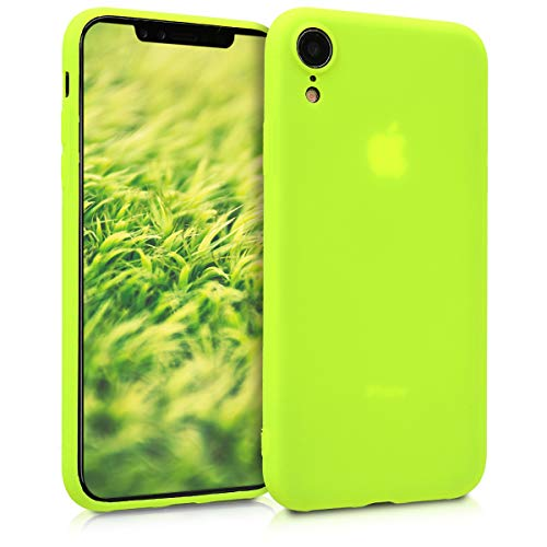 kwmobile TPU Silicone Case for Apple iPhone XR - Soft Flexible Shock Absorbent Protective Phone Cover - Neon Yellow