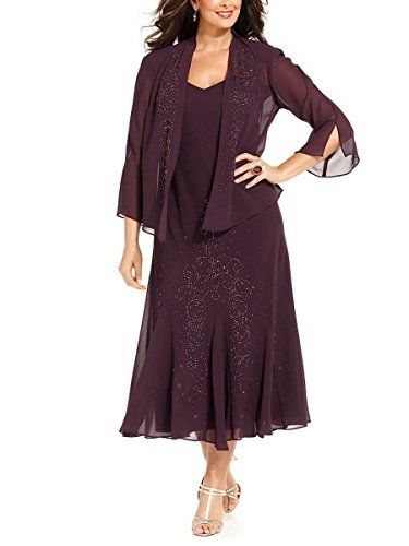 R&M Richards Women's Plus Size Beaded Jacket Dress - Mother of the Bride Dresses (30W, EGGPLANT)