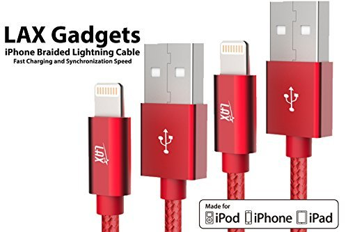 iPhone Charger Cable 10 Foot - [MFi Certified] Durable Braided Apple Lightning USB Cord Compatible with iPhone X/ 8/8 Plus/ 7/7 Plus/IPad Pro [2-Pack, 10-Ft Red]