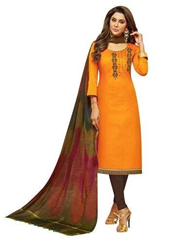 Womens Blended Silk Handworked Salwar Kameez with Banarasi Dupatta Womens Indian Pakistani Dress Ready to wear Salwar Suit (Size_54/ Orange)