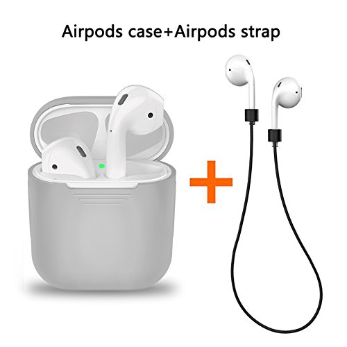 LabelBro Airpods Case AirPods Protective Silicone Cover With Anti-lost Silicone Airpods strap for Apple Airpods Charging Shock proof Case