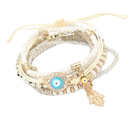 Crystal Beads Hamsa Hand Charm Bracelets & Wrap Beads Bracelets for Women - Link Large Flat