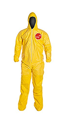 DuPont Tychem 2000 QC122S Chemical Resistant Coverall with Hood and Socks, Disposable, Elastic Cuff, Yellow, 3XL (Pack of 12)