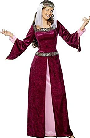 Mujer Doncella Marion Borgoña Disfraz Medieval talla XL 20 a 22 ...