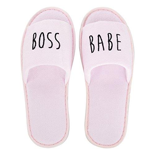 likalla Wellness-Slipper / Hotel-Slipper / Gäste-Hausschuhe - offen - einzeln und 3 / 5 / 10 Paar im Set - schwarz, weiß, rosa - bestickt mit Girlie Statements GRL PWR, GIRL GANG, boss babe rosa, boss babe, 5 Paar