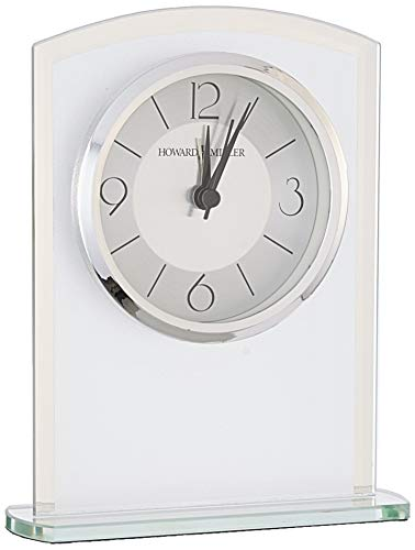 Howard Miller Glamour Table Clock 645-771 – Modern Glass with Quartz Alarm Movement - TABLE CLOCK: The Glamour Table Clock is a frosted glass clock with a gently curved top, mirrored beveled edges, and mirrored glass base to compliment your home decor. The clock's quartz movement makes a soft ticking noise without the use of chimes for a quieter environment. DURABLE: This indoor modern clock is created to last. It has a sturdy metal frame to relieve stress in a busy household. Place it in your kitchen, office, bathroom, bedroom, living room, and more. HIGH QUALITY: The design is a home essential. Easily tell time with a satin silver center and brushed silver outer ring with black Arabic numerals, hour markers, black hands, silver second and alarm hands, glass crystal, and a polished silver-tone bezel to stand out over a two-tone dial. - clocks, bedroom-decor, bedroom - 41zJqvvLIoL -