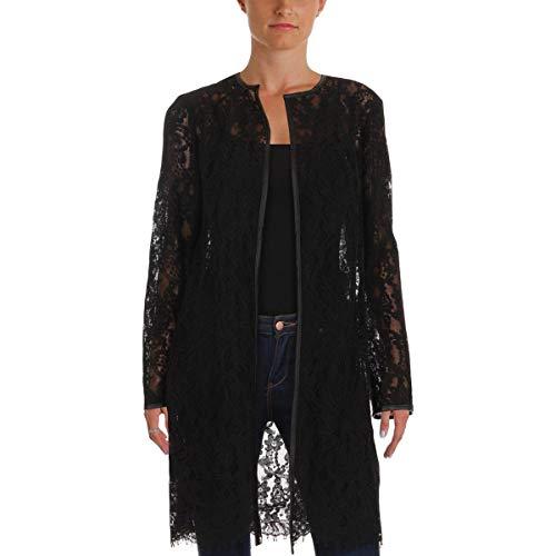 (LAUREN RALPH LAUREN Womens Leolya Lace Long Sleeves Jacket Black XL)