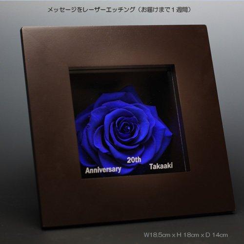 枯れない青いバラ(プリザーブドフラワー )メッセージフレーム ご希望のメッセージを刻印してスピーディーにお届け 3~5年楽しめる本物のバラのギフト 手提げ袋付 B00EXGN7I4