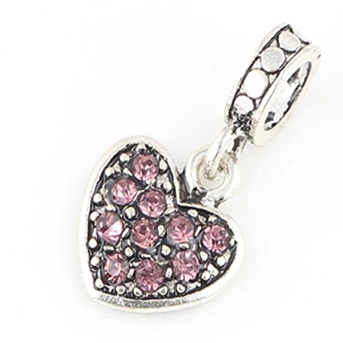 Charm Central Pink Crystal Rhinestone Dangling Heart Charm - Charm Beads for Charm Bracelets - Fits Most Charm Bracelets ()