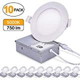 9W 4'' Ultra-Thin Recessed Ceiling Light with Junction Box, 5000K Daylight White, Dimmable Airtight Downlight, 750lm 60-80W Equivalent, ETL Listed & Energy Star, LED Downlight, 10 Pack