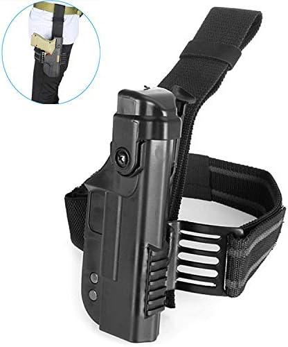 Gexgune Caza táctica Militar Glock holdola Derecha Pata Gota Muslo Cerradura Pistola con Funda para Glock 17 18 19 22 (2 Colores Opcionales)