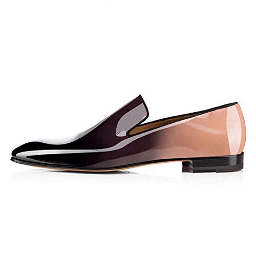 Koekoek Heren Laklederen Dress-schoenen Slip Op Oxford Loafers Lichtbruin