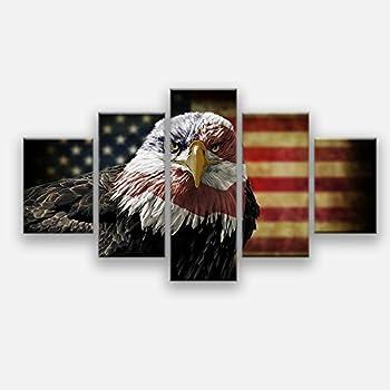 Amazon Com Retro American Flag Eagle Canvas Print Art
