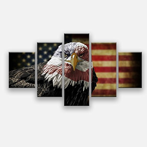 Retro American flag eagle canvas print art black and white home decor wall art Independence Day pictures for living room 5 panel large poster painting Framed Ready to hang