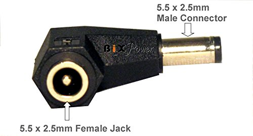 BiXPower LC53 Right Angle Connector Converter for 5.5 x 2.5mm DC Power Connector