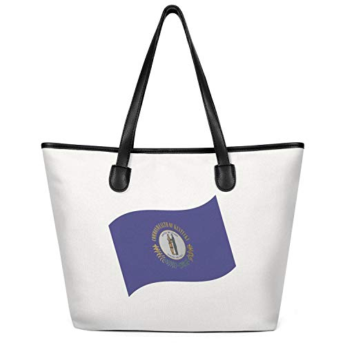 12.5X14 Inches Cute Zip Craft Canvas Large Tote Bag For Women State Of Kentucky Flag Waving Durable Handles Beach Work Gym Book Lunch School Shopping Shoulder Handbag]()