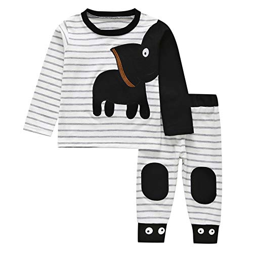 MOONHOUSE Toddler Kids Baby Girl Tops,Christmas Elephant Striped Cosplay Winter Tops +Pants Costume Party Outfits (18-24 Months, -