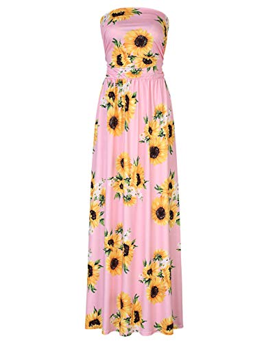 Leadingstar Women Strapless Baby Shower Party Maxi Dress (Pink Sunflower, 2XL)