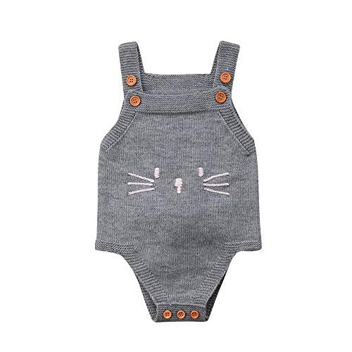 Newborn Baby Girl Knit Cat Sleeveless Button Romper Back Bunny Jumpsuit Outfit Clothes