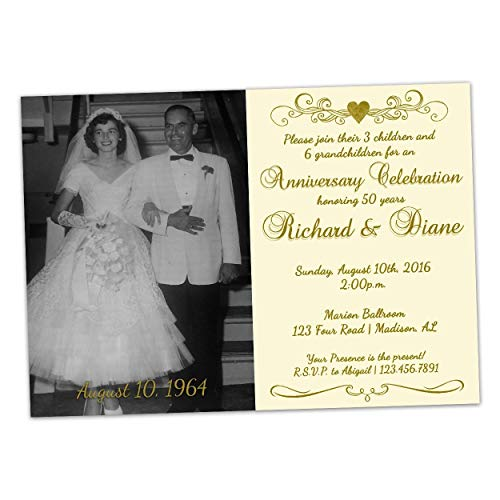 Ivory 50th Wedding Anniversary Invitations Golden Photo Gold