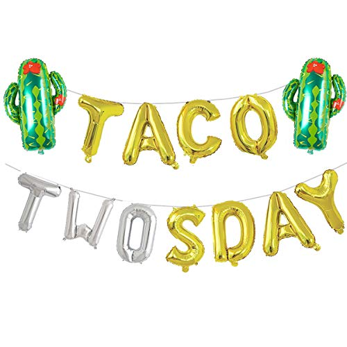 16 Gold & Silver Foil Balloons Taco Twosday Fiesta 2nd Birthday Decorations Balloons Mexican Taco Party Decor Party Supplies for Boy and Girl