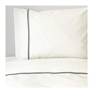Ikea Bedding 2 Piece King Duvet Cover Set White with Raised Metallic Stripe -- Haxort